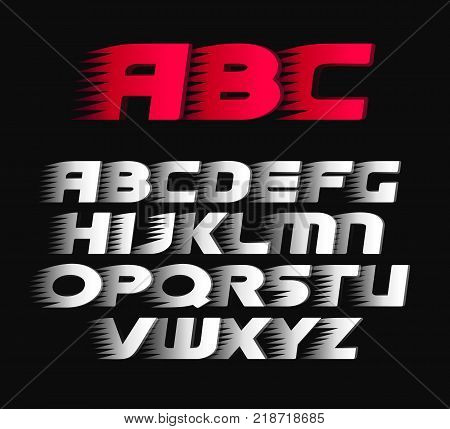 Sport vector font. Alphabet bold italics letters, white and red symbols