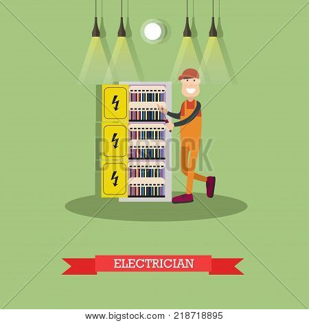 Vector illustration of professional electrician installing, maintaining or repairing electrical power, lighting system. Flat style design element.