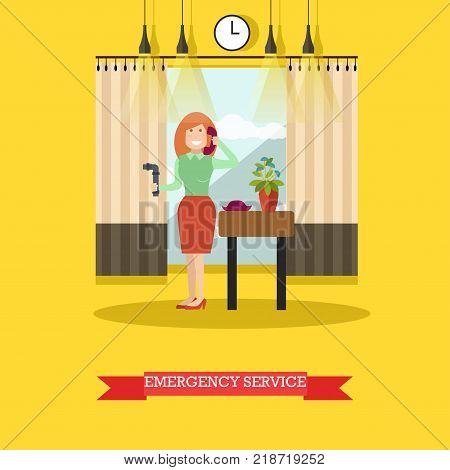 Vector illustration of woman holding broken pipe and calling to emergency service. Flat style design.