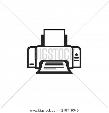 Printer icon vector symbol, line outline style ink-jet or laser-jet black and white pictogram isolated on white, copier machine or laser jet with paper printed