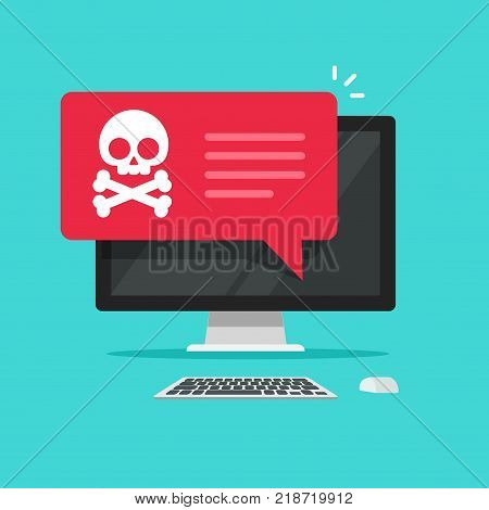 Alert notification on desktop computer vector, malware concept, spam data on pc display, fraud internet error, insecure connection, online scam, virus message