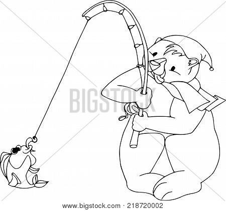Funny bear with fish. Cartoon characters, isolated, wildlife, coloring outline.