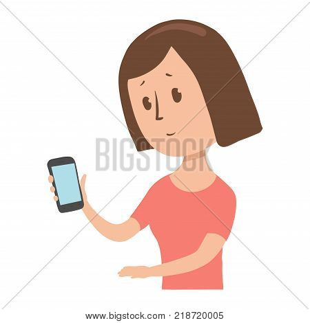 Woman looks at her phone in surprise. Confused lady with a gadget in her hand. Cartoon character vector illustration. Isolated image on white background. Flat style.