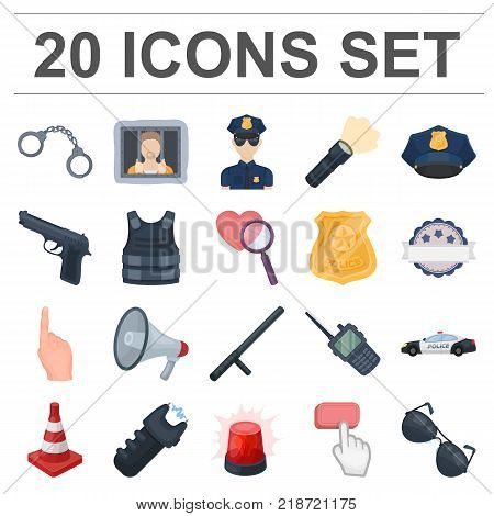 Police, Department cartoon icons in set collection for design.Detective and accessories vector symbol stock  illustration.