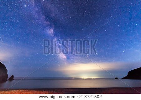 Milky way over the sea. Some noise from high iso exists