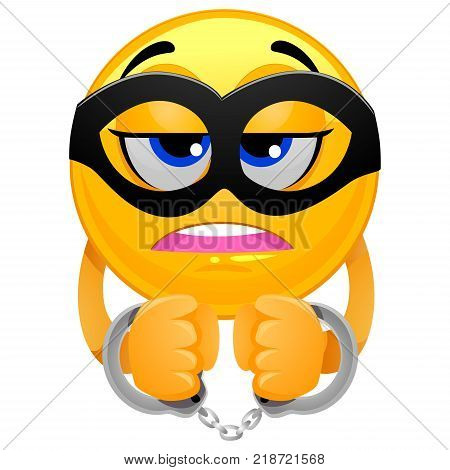 Vector Illustration of Smiley Emoticon wearing a Mask and Handcuffs