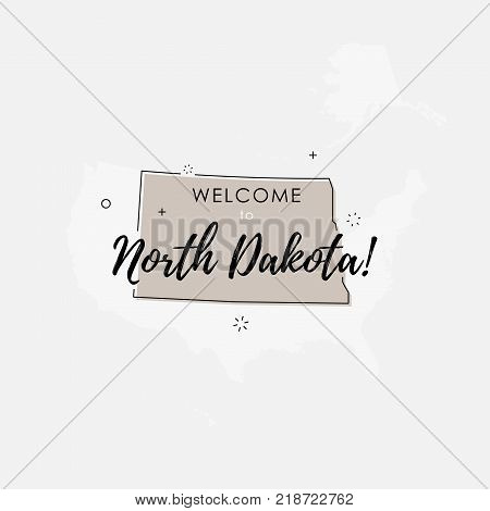 Vector illustration of North Dakota state map over US map in trendy flat line style.