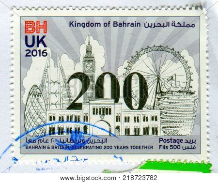 GOMEL, BELARUS, 17 DECEMBER 2017, Stamp printed in Kingdom Of Bahrain shows image of the Bahrain & Britain, Celebrating 200 Years Together, circa 2016.