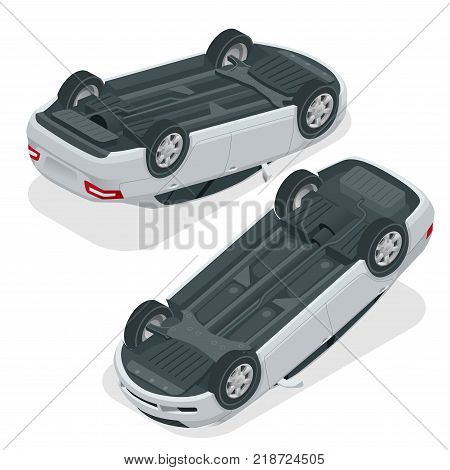 Car flipped. Car turned over after accident. Vehicle flipped onto roof. Vector isometric illustration