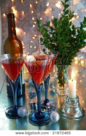 Red wine in glasses.