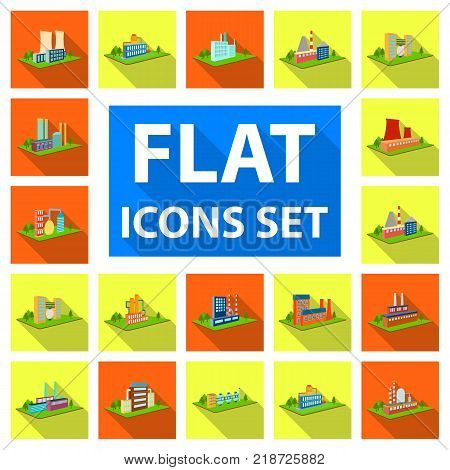 Factory and plant flat icons in set collection for design. Production and enterprise vector isometric symbol stock  illustration.