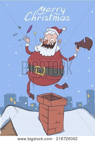 Christmas card of funny Santa Claus. Santa brings gifts and throws candies up on the roof above chimney in snowy city. Vertical vector illustration. Cartoon character with lettering. Copy space.