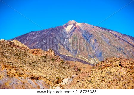 Slope of the Teide volcano (Pico del Teide) in highland of Tenerife island, The Canaries