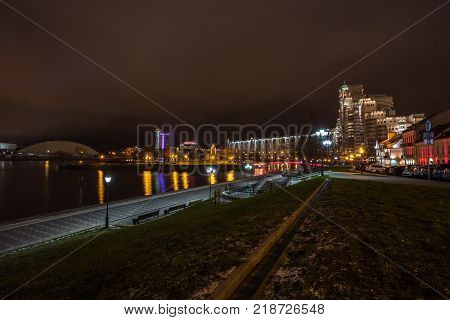 Minsk, Belarus - December 7, 2017: Panorama Of The Lights Of Old Night City
