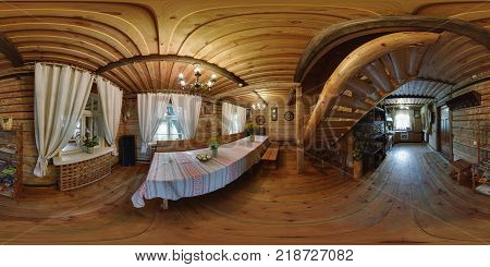 GRODNO BELARUS - AUGUST 9 2012: Full spherical 360 degrees panorama in equirectangular equidistant projection panorama of interior in wooden village hut VR content