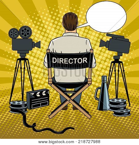 Stage director on set pop art retro vector illustration. Comic book style imitation.