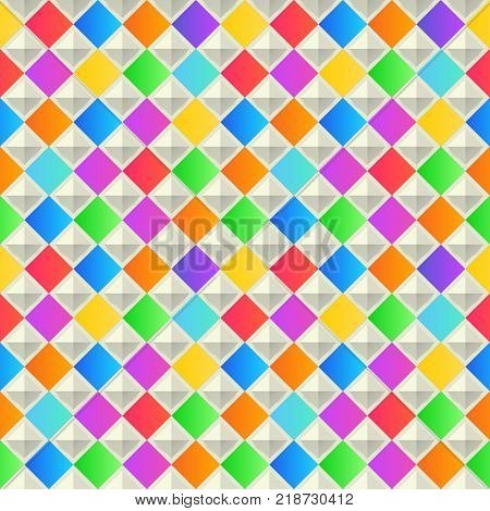 Abstract geometric background. Colorful seamless texture. Vector interior wall panel pattern.