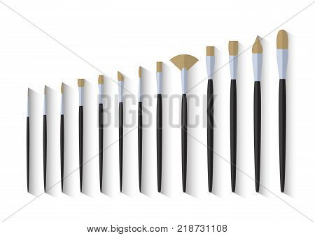 set of paint brush stationary, collection of color painting accessory, artist tools, vector illustration