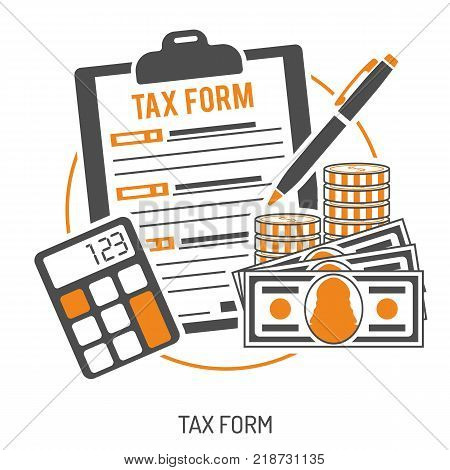 Tax calculation, accounting, payment, paperwork concept. Government taxes, financial research, report. Calculation of tax return. Two color flat style icons. Isolated vector illustration