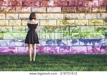 A young girl from the LGBT community feels lonely and depressed oppression of the rights of a sexual minority concept poster