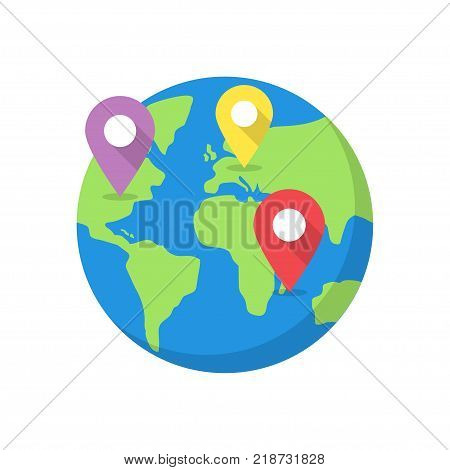 Location on globe. World map with destination pins. Vector illustration