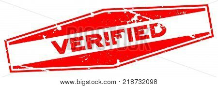 Grunge red verified wording hexgon rubber seal stamp on white background