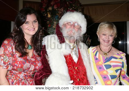 LOS ANGELES - DEC 16:  Heather Tom, Santa Claus, Marie Tom at the Heather Tom, James Achor, Zane Achor Christmas Party at their private residence on December 16, 2017 in Glendale, CA