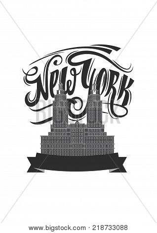 New york city. NY logo isolated. Black textured NYC label or logotype. Vintage badge calligraphy in grunge style. Great for t-shirts or poster.