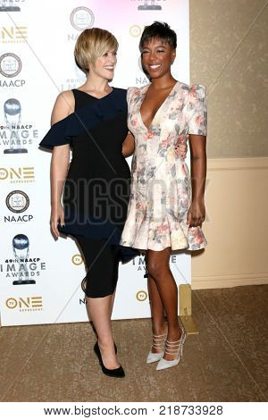LOS ANGELES - DEC 16:  Lauren Morelli, Samira Wiley at the 49th NAACP Image Awards Nominees' Luncheon at Beverly Hilton Hotel on December 16, 2017 in Beverly Hills, CA