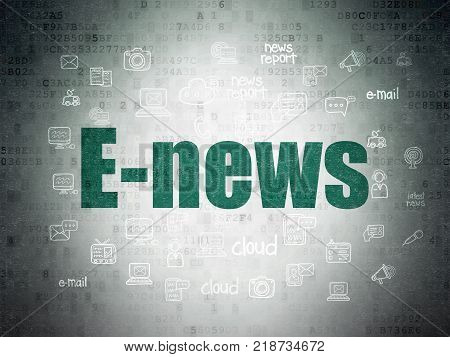 News concept: Painted green text E-news on Digital Data Paper background with  Hand Drawn News Icons