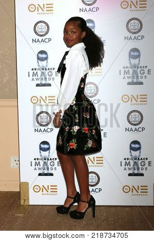 LOS ANGELES - DEC 16:  Marsai Martin at the 49th NAACP Image Awards Nominees' Luncheon at Beverly Hilton Hotel on December 16, 2017 in Beverly Hills, CA