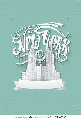 New york city. NY logo isolated. NYC label or logotype. Vintage paper style badge calligraphy