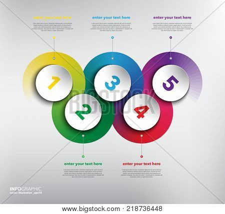 Horizontal timeline info graphic with circle elements. 5 parts concept. Can be used for workflow layout, banner, number options, step up options, diagram, web design. Vector illustration. Eps10.