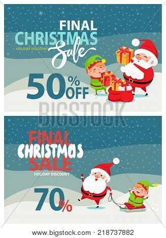 Final Christmas sale banner -50 , -70 off, happy Santa Claus with his helper elf giving gifts and riding on sleigh on winter and snowy landscape