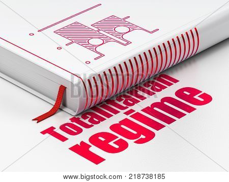 Politics concept: closed book with Red Election icon and text Totalitarian Regime on floor, white background, 3D rendering
