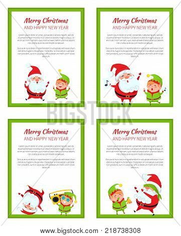 Merry Christmas and Happy New Year posters set with Santa and Elf jumping from fun, singing carol songs, dancing on head, playing hide-and-seek vector