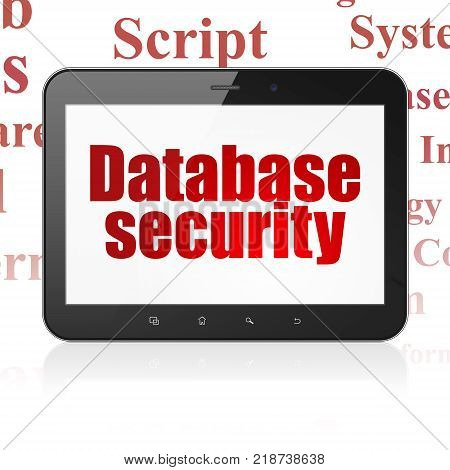 Database concept: Tablet Computer with  red text Database Security on display,  Tag Cloud background, 3D rendering