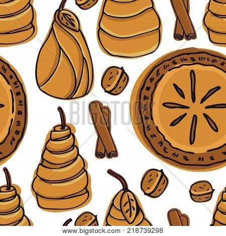 Fresh Bakery Delicious Pear Pie and Pears in Puff Pastry Seamless pattern set