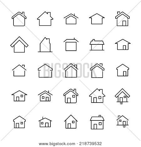 Set of 25 home thin line icons. High quality pictograms of house. Modern outline style icons collection. Building, estate, cottage, structure, etc.