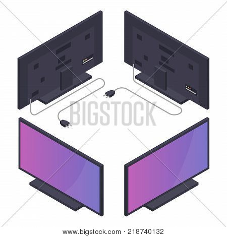 Flat or plasma TV with power cord. Isometric vector illustration