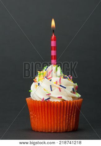 Colorful Homemade Birthday Cupcake With One Burning Candle. Copy Space