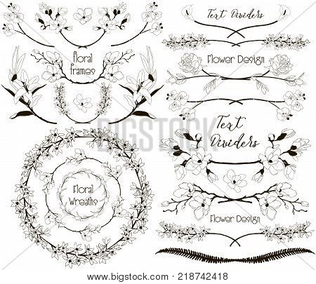 Collection of Floral Design Elements. Hand Drawn Dividers, Text Frames, Wreaths with Branches and Flowers. Decorative Vector Illustration. Lily Flower, Cherry Blossom, Calla, Orchid, Peony, Fern Leaf