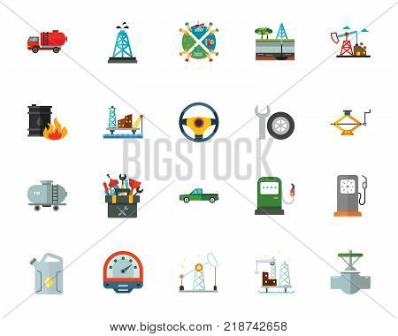 Oil production icon set. Can be used for topics like industry, petroleum, equipment, gasoline