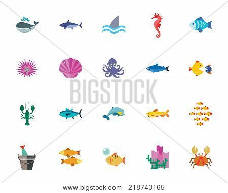 Sea creatures icon set. Can be used for topics like marine life, fish, underwater, inhabitant