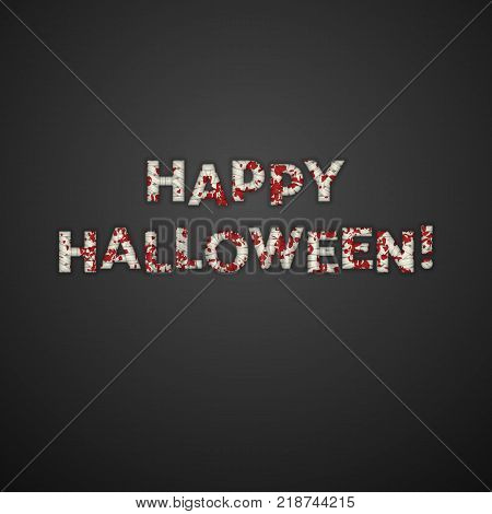 Happy Halloween Greeting Card. Mummy Bandage Font With Blood. Vector
