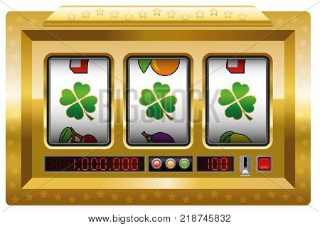 Slot machine with three lucky clover icons - symbol for good luck, success and winning the jackpot.