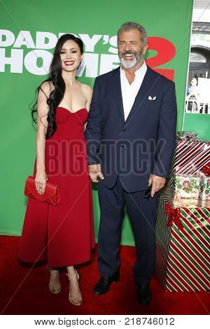 Mel Gibson and Rosalind Ross at the Los Angeles premiere of 'Daddy's Home 2' held at the Regency Village Theatre in Westwood, USA on November 5, 2017.