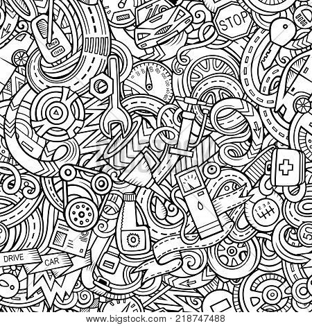 Cartoon cute doodles Automotive seamless pattern. Line art detailed, with lots of objects background. All objects separate. Backdrop with car parts symbols and items