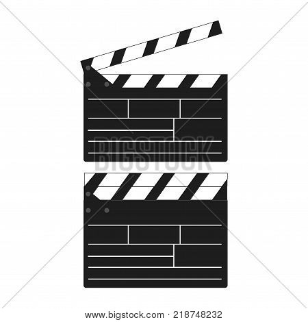 Opened and closed movie clapboard for your design. Vector.