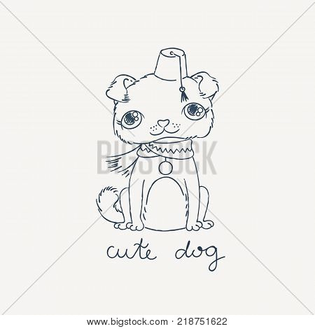 Puppy pug in a fez with a tassel. Vector doodle illustration. For coloring books or print.